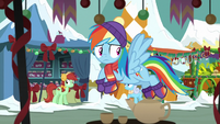 Rainbow Dash flying through marketplace MLPBGE