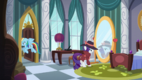 Rarity looks at mirror while Rainbow leaves room S5E15