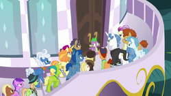 Spike facing an angry mob of delegates S5E10