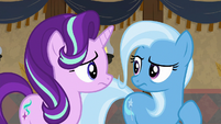 Starlight and Trixie look concerned S8E19
