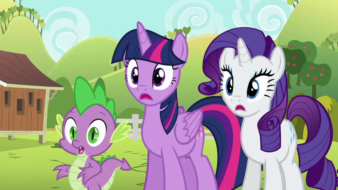 Image - Twilight, Rarity, and Spike watching Applejack ...