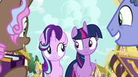 Twilight and Starlight look at each other S7E14