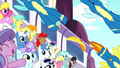 Wonderbolts fly over the cheering crowd S8E18.png
