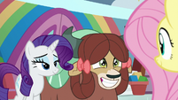 Yona grinning excitedly at Fluttershy S9E7