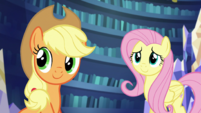 AJ and Fluttershy listen to Rarity S5E21
