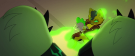 Capper and Spike blowing away Storm Guards MLPTM