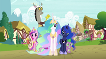 Discord and Spike with Princesses