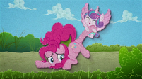 Flurry Heart dragging Pinkie by the hoof BFHHS4