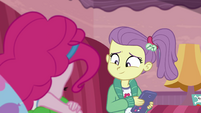 Lily Pad smiling at sleeping Pinkie Pie EGDS3