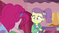 Lily Pad smiling at sleeping Pinkie Pie EGDS3