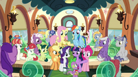 Mane Six and Spike on Friendship Express S9E26