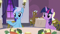Minuette gesturing toward Lemon Hearts and Twinkleshine S5E12.png