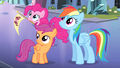 Pinkie, RD, and Scootaloo look up at Twilight S4E24.png