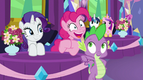 Pinkie cheering for Starlight and friends S7E1