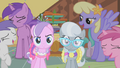 Ponies laughing at Diamond Tiara and Silver Spoon S01E12.png