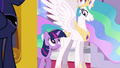 Princess Celestia and Twilight stops at the entrance S3E01.png