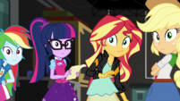 Rainbow, Twilight, Sunset, and AJ look at Fluttershy EGS2