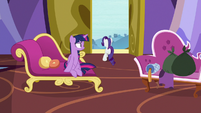 Rarity dashing out of the castle S9E19