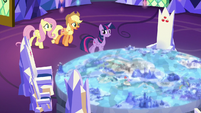 Twilight, AJ, and Fluttershy approach Cutie Map S8E23
