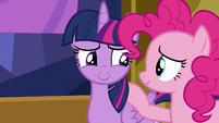 Twilight Sparkle smiling at Pinkie Pie S7E14
