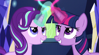 Twilight and Starlight using their magic S6E12