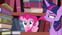 Twilight annoyed at Pinkie S4E09
