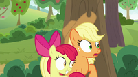 AJ and Apple Bloom glance toward the trap S9E10