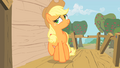 Applejack about to place a hoof on the wall of the club house S1E18.png