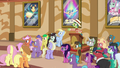 Barker pony gesturing to Gladmane's statue S6E20.png