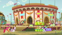 Exterior view of Appleloosa buckball stadium S9E22