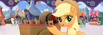 MLP The Movie Hasbro website - Applejack selling cider