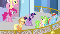 Main ponies and Peachbottom on the balcony S03E12.png