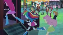Pinkie, Rainbow, and Fluttershy run backstage EG2