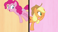Pinkie Pie and Applejack in a split-screen S7E14