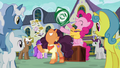 Pinkie Pie and Saffron happily advertising S6E12.png