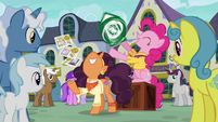 Pinkie Pie and Saffron happily advertising S6E12