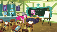 Pinkie Pie in Miss Cheerilee's classroom S7E23