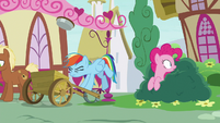 Rainbow Dash catapults custard pie into the air S7E23