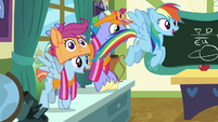 Rainbow and parents fly into the classroom S7E7