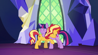 Sunset and Princess Twilight hugging EGSB