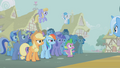 The ponies stare at a triumphant Trixie S1E06.png