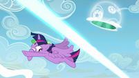 Twilight Sparkle avoids Starlight's magic beam S5E26