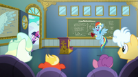 Twilight and Rainbow enter the classroom S6E24