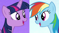 Twilight and Rainbow on split screen S7E2