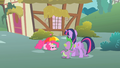 Twilight and Spike observe Pinkie S1E15.png