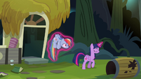Twilight carrying Rainbow outside S4E04