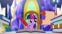 Twilight looking at an artifact scroll EGSBP