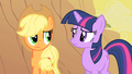 Applejack and Twilight considering Appleloosa's plight S1E21.png