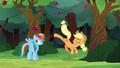 Applejack kicks an apple over Rainbow's head S6E18.png