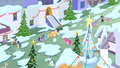 Mane 6 laughing in snowy Canterlot S2E11.png